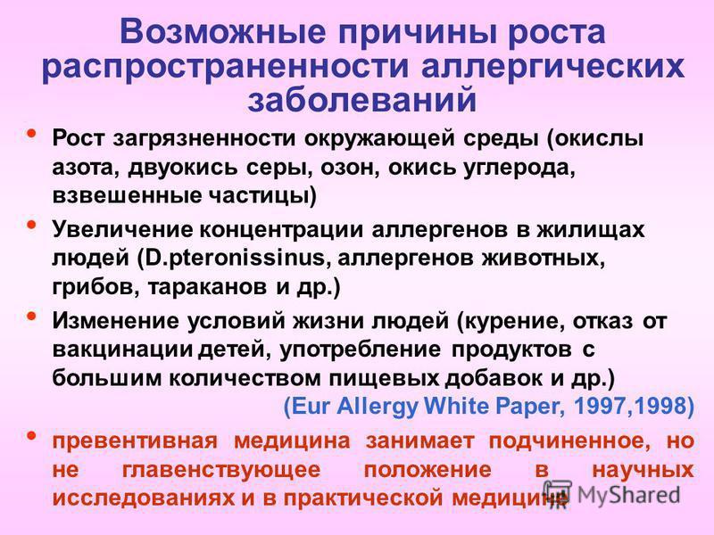 Возможные причины роста распространенности аллергических заболеваний Рост загрязненности окружающей среды (окислы азота, двуокись серы, озон, окись углерода, взвешенные частицы) Увеличение концентрации аллергенов в жилищах людей (D.pteronissinus, алл