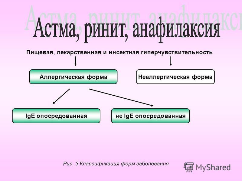 Пищевая, лекарственная и инсектная гиперчувствительность Аллергическая форма Неаллергическая форма IgE опосредованная не IgE опосредованная Рис. 3 Классификация форм заболевания