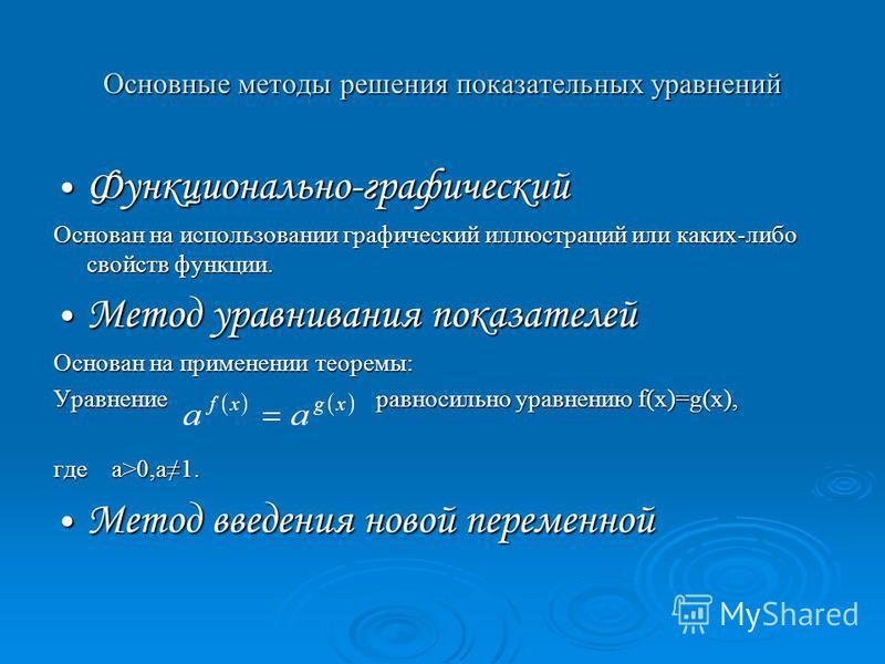 Основные методы решения показательных уравнений Функционально-графический Функционально-графический Основан на использовании графический иллюстраций или каких-либо свойств функции. Метод уравнивания показателей Метод уравнивания показателей Основан н