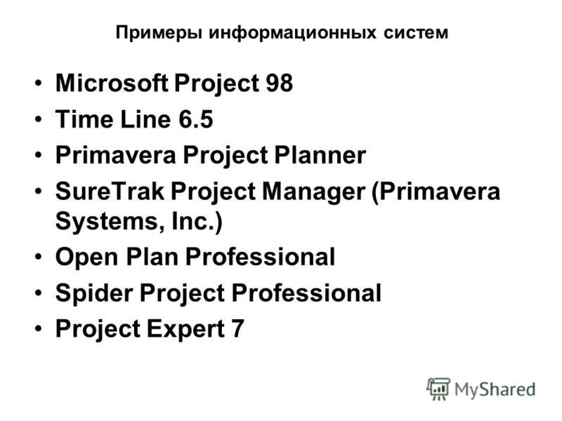 Примеры информационных систем Microsoft Project 98 Time Line 6.5 Primavera Project Planner SureTrak Project Manager (Primavera Systems, Inc.) Open Plan Professional Spider Project Professional Project Expert 7