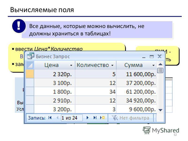 12 Все данные, которые можно вычислить, не должны храниться в таблицах! ! ! Вычисляемые поля ввести Цена*Количество Выражение 1: [Цена]*[Количество] заменить Выражение 1 на Сумма ввести Цена*Количество Выражение 1: [Цена]*[Количество] заменить Выраже