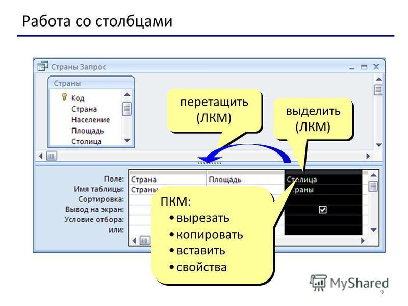 9 Работа со столбцами выделить (ЛКМ) ПКМ: вырезать копировать вставить свойства ПКМ: вырезать копировать вставить свойства перетащить (ЛКМ)