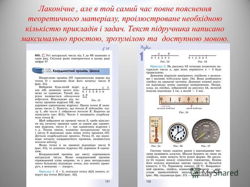 Лаконічне, але в той самий час повне пояснення теоретичного матеріалу, проілюстроване необхідною кількістю прикладів і задач. Текст підручника написано максимально простою, зрозумілою та доступною мовою.