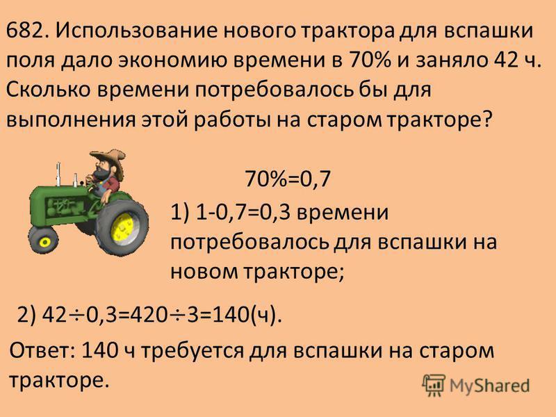 682. Использование нового трактора для вспашки поля дало экономию времени в 70% и заняло 42 ч. Сколько времени потребовалось бы для выполнения этой работы на старом тракторе? 70%=0,7 1) 1-0,7=0,3 времени потребовалось для вспашки на новом тракторе; О