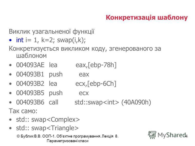Конкретизація шаблону Виклик узагальненої функції int i= 1, k=2; swap(i,k); Конкретизується викликом коду, згенерованого за шаблоном 004093AE lea eax,[ebp-78h] 004093B1 push eax 004093B2 lea ecx,[ebp-6Ch] 004093B5 push ecx 004093B6 call std::swap (40