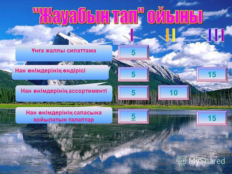 5 515 5 10 5 15 Ұнға жалпы сипаттама Нан өнімдерінің өндірісі Нан өнімдерінің ассортименті Нан өнімдерінің сапасына қойылатын талаптар