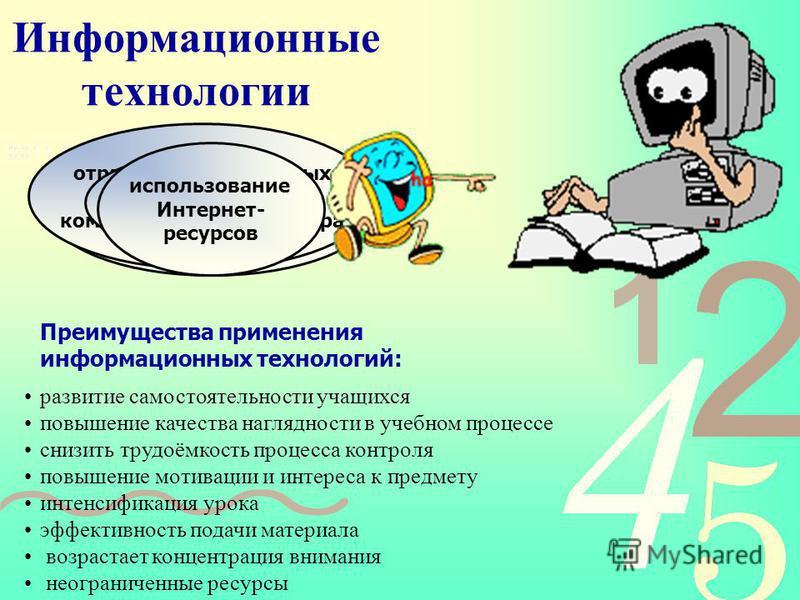 Информационные технологии создание и демонстрация компьютерных презентаций проведение контроля знаний отработка общеучебных навыков с помощью компьютерного тренажера работа с интерактивной доской использование Интернет- ресурсов Преимущества применен