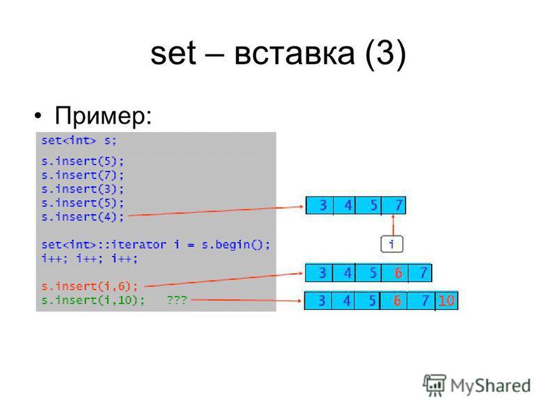 set – вставка (3) Пример: