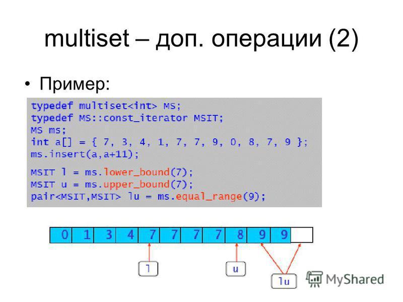 multiset – доп. операции (2) Пример:
