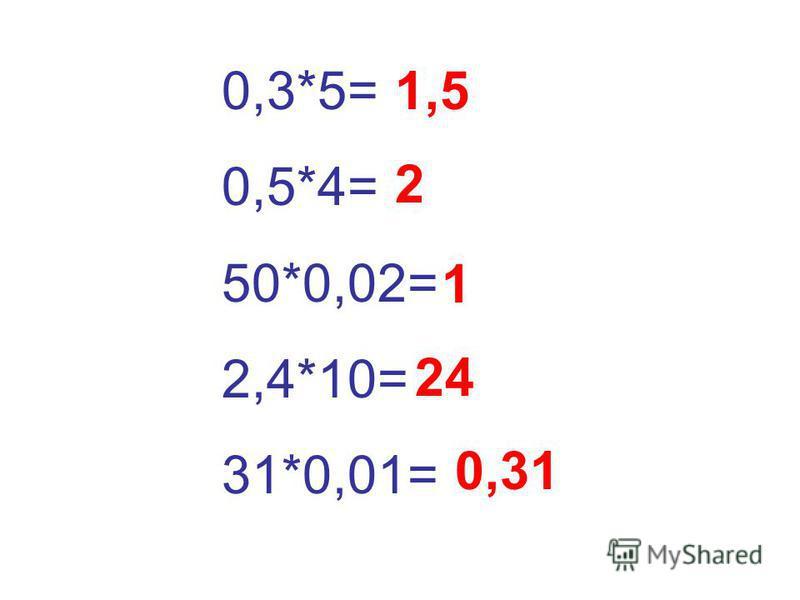 0,3*5= 0,5*4= 50*0,02= 2,4*10= 31*0,01= 1,5 2 1 24 0,31