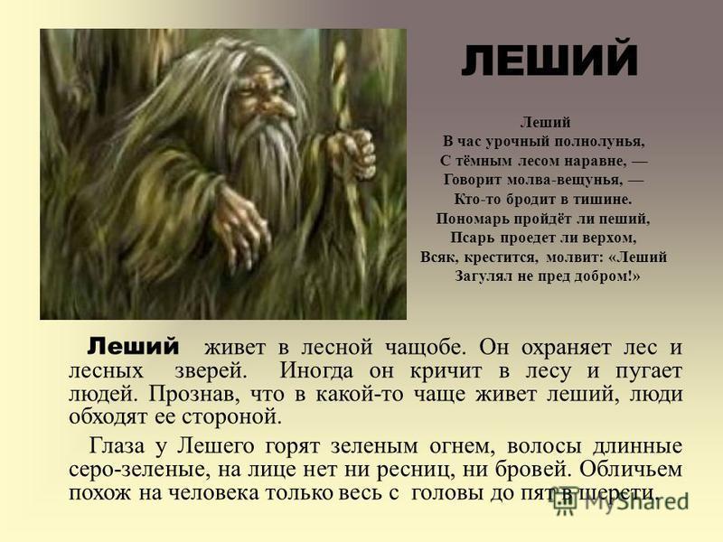 Леший живет в лесной чащобе. Он охраняет лес и лесных зверей. Иногда он кричит в лесу и пугает людей. Прознав, что в какой-то чаще живет леший, люди обходят ее стороной. Глаза у Лешего горят зеленым огнем, волосы длинные серо-зеленые, на лице нет ни