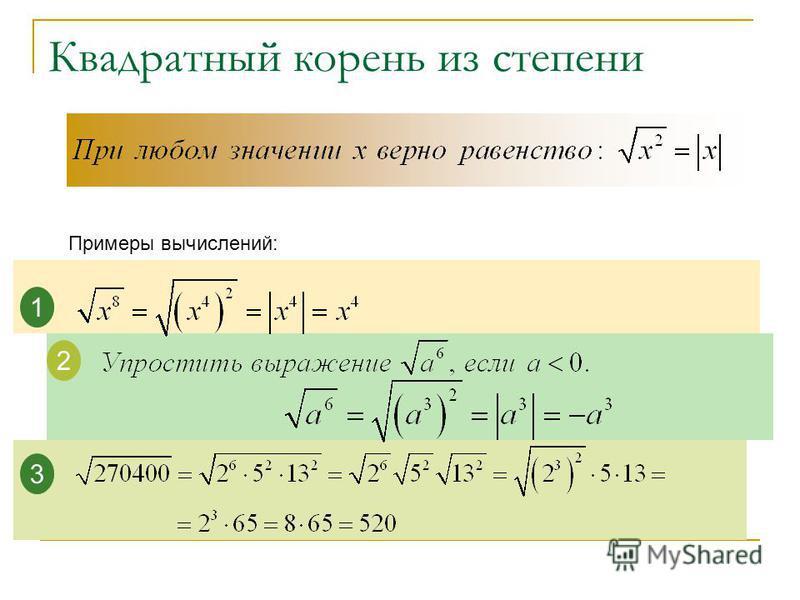 Квадратный корень из степени Примеры вычислений: 1 2 3