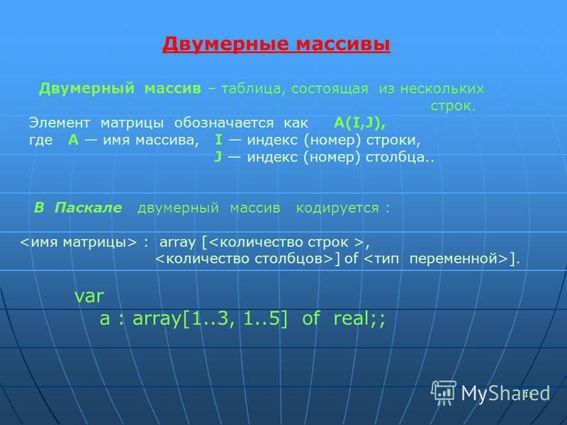 1111 Двумерные массивы Двумерный массив – таблица, состоящая из нескольких строк. Элемент матрицы обозначается как A(I,J), где А имя массива, I индекс (номер) строки, J индекс (номер) столбца.. В Паскале двумерный массив кодируется : : array [, ] of