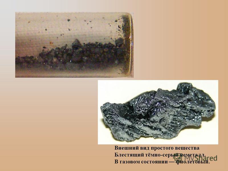 Внешний вид простого вещества Блестящий тёмно-серый неметалл. В газовом состоянии фиолетовый.