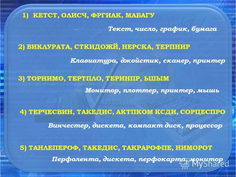 1) КЕТСТ, ОЛИСЧ, ФРГИАК, МАБАГУ 2) ВИКЛУРАТА, СТКИДОЖЙ, НЕРСКА, ТЕРПНИР 3) ТОРНИМО, ТЕРТПЛО, ТЕРИНПР, ЬШЫМ 4) ТЕРЧЕСВИН, ТАКЕДИС, АКТПКОМ КСДИ, СОРЦЕСПРО 5) ТАНЛЕПЕРОФ, ТАКЕДИС, ТАКРАРОФПЕ, НИМОРОТ Текст, число, график, бумага Клавиатура, джойстик, с