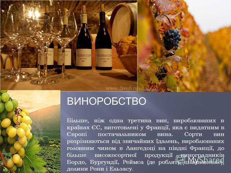 ВИНОРОБСТВО Більше, ніж одна третина вин, вироблюваних в країнах ЄС, виготовлені у Франції, яка є видатним в Європі постачальником вина. Сорти вин розрізняються від звичайних їдалень, вироблюваних головним чином в Лангедоці на півдні Франції, до біль