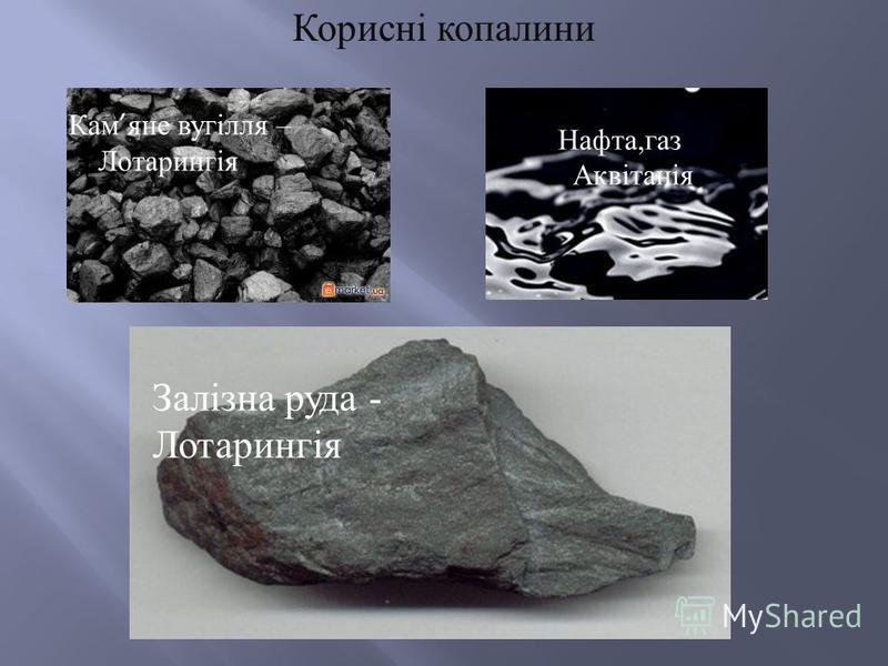 Корисні копалини Кам яне вугілля – Лотарингія Нафта,газ Аквітанія Залізна руда - Лотарингія