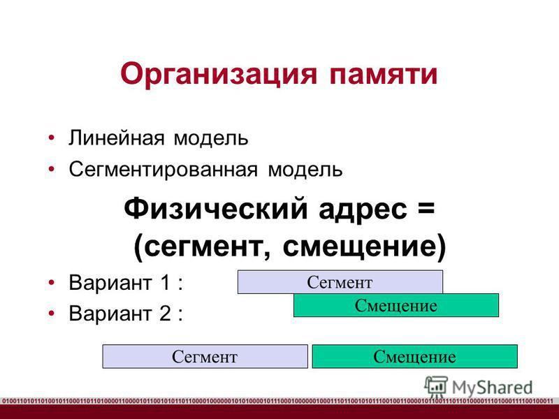 Организация памяти Линейная модель Сегментированная модель Физический адрес = (сегмент, смещение) Вариант 1 : Вариант 2 : Сегмент Смещение Сегмент Смещение