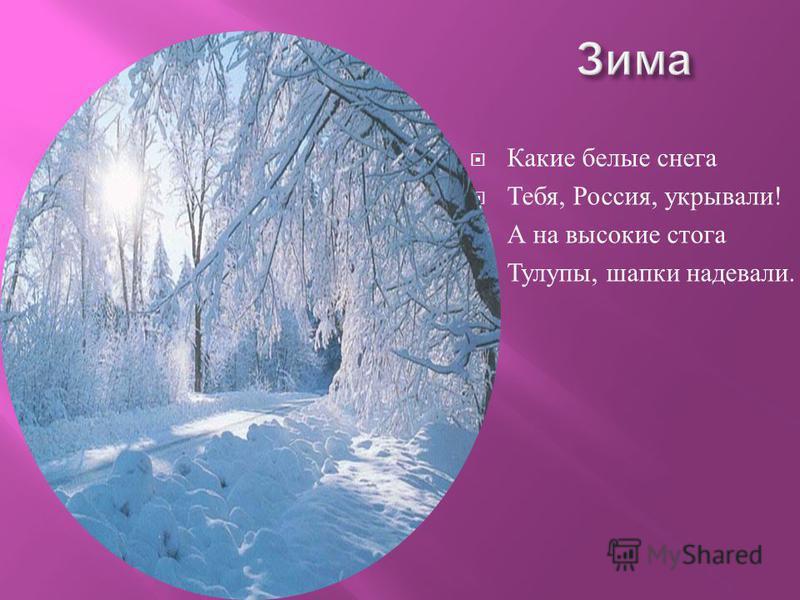 Какие белые снега Тебя, Россия, укрывали ! А на высокие стога Тулупы, шапки надевали.