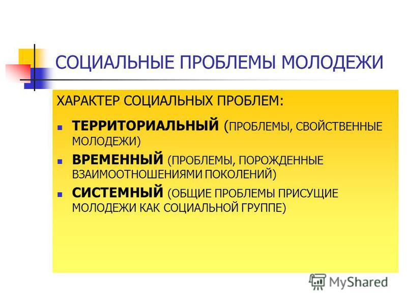 СОЦИАЛЬНЫЕ ПРОБЛЕМЫ МОЛОДЕЖИ ХАРАКТЕР СОЦИАЛЬНЫХ ПРОБЛЕМ: ТЕРРИТОРИАЛЬНЫЙ ( ПРОБЛЕМЫ, СВОЙСТВЕННЫЕ МОЛОДЕЖИ) ВРЕМЕННЫЙ (ПРОБЛЕМЫ, ПОРОЖДЕННЫЕ ВЗАИМООТНОШЕНИЯМИ ПОКОЛЕНИЙ) СИСТЕМНЫЙ (ОБЩИЕ ПРОБЛЕМЫ ПРИСУЩИЕ МОЛОДЕЖИ КАК СОЦИАЛЬНОЙ ГРУППЕ)