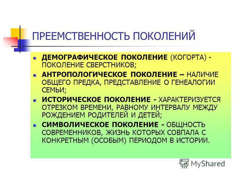 ПРЕЕМСТВЕННОСТЬ ПОКОЛЕНИЙ ДЕМОГРАФИЧЕСКОЕ ПОКОЛЕНИЕ (КОГОРТА) - ПОКОЛЕНИЕ СВЕРСТНИКОВ; АНТРОПОЛОГИЧЕСКОЕ ПОКОЛЕНИЕ – НАЛИЧИЕ ОБЩЕГО ПРЕДКА, ПРЕДСТАВЛЕНИЕ О ГЕНЕАЛОГИИ СЕМЬИ; ИСТОРИЧЕСКОЕ ПОКОЛЕНИЕ - ХАРАКТЕРИЗУЕТСЯ ОТРЕЗКОМ ВРЕМЕНИ, РАВНОМУ ИНТЕРВАЛУ