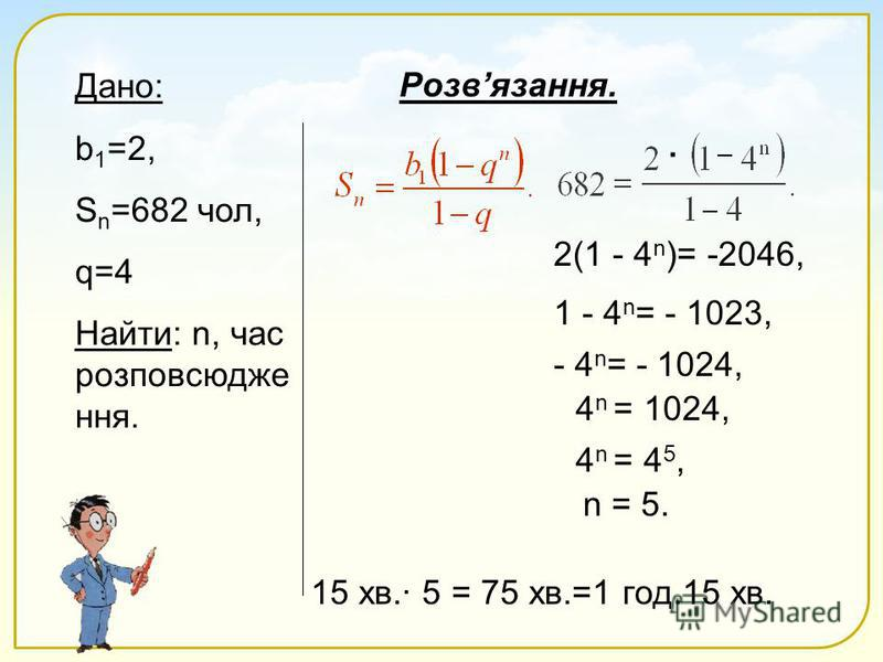 Дано: b 1 =2, S n =682 чол, q=4 Найти: n, час розповсюдже ння. Розвязання. 2(1 - 4 n )= -2046, 1 - 4 n = - 1023, - 4 n = - 1024, 4 n = 1024, 4 n = 4 5, n = 5. 15 хв.· 5 = 75 хв.=1 год.15 хв. ·