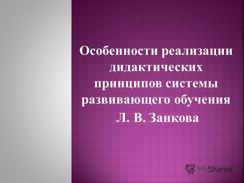 Особенности реализации дидактических принципов системы развивающего обучения Л. В. Занкова