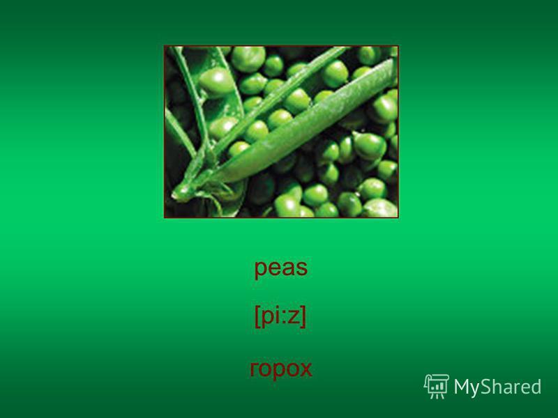 peas горох [pi:z]