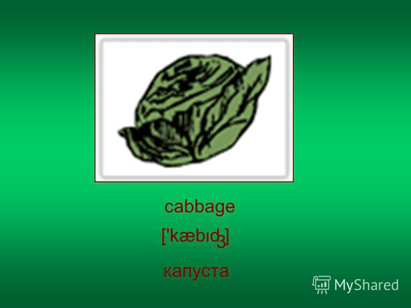 cabbage ['kæbd ] 3 капуста