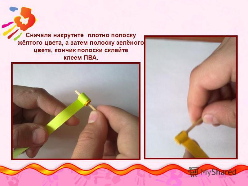 Сначала накрутите плотно полоску жёлтого цвета, а затем полоску зелёного цвета, кончик полоски склейте клеем ПВА.