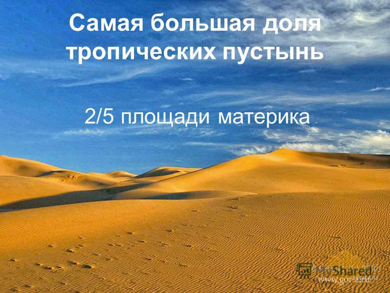 Самая большая доля тропических пустынь 2/5 площади материка