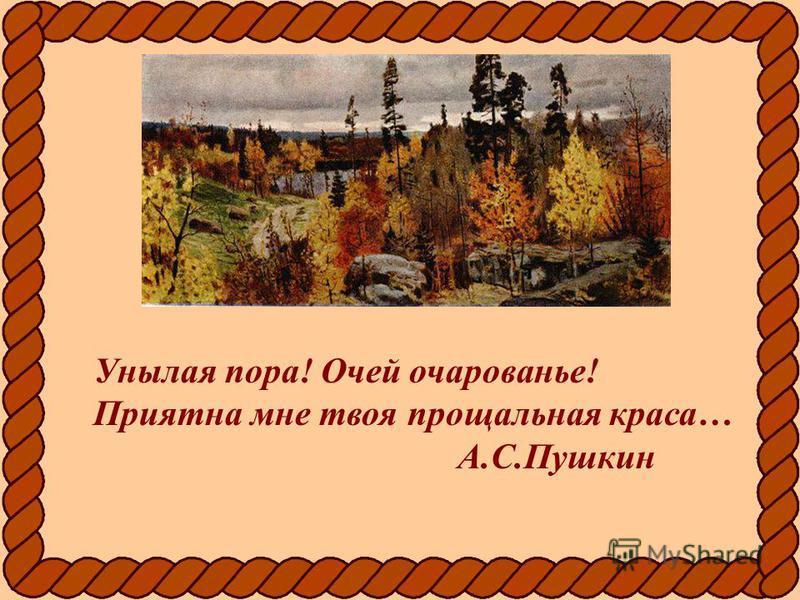 Унылая пора! Очей очарованье! Приятна мне твоя прощальная краса… А.С.Пушкин