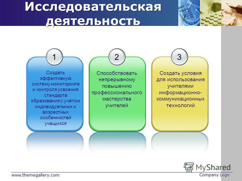 www.themegallery.com Company Logo Исследовательская деятельность 1 Создать эффективную систему мониторинга и контроля усвоения стандарта образования с учётом индивидуальных и возрастных особенностей учащихся 2 Способствовать непрерывному повышению пр