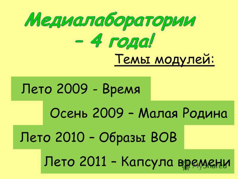 Темы модулей: Лето 2009 - Время Осень 2009 – Малая Родина Лето 2010 – Образы ВОВ Лето 2011 – Капсула времени