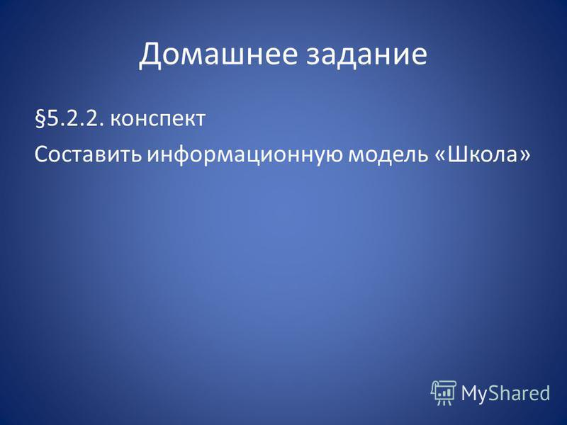Домашнее задание §5.2.2. конспект Составить информационную модель «Школа»