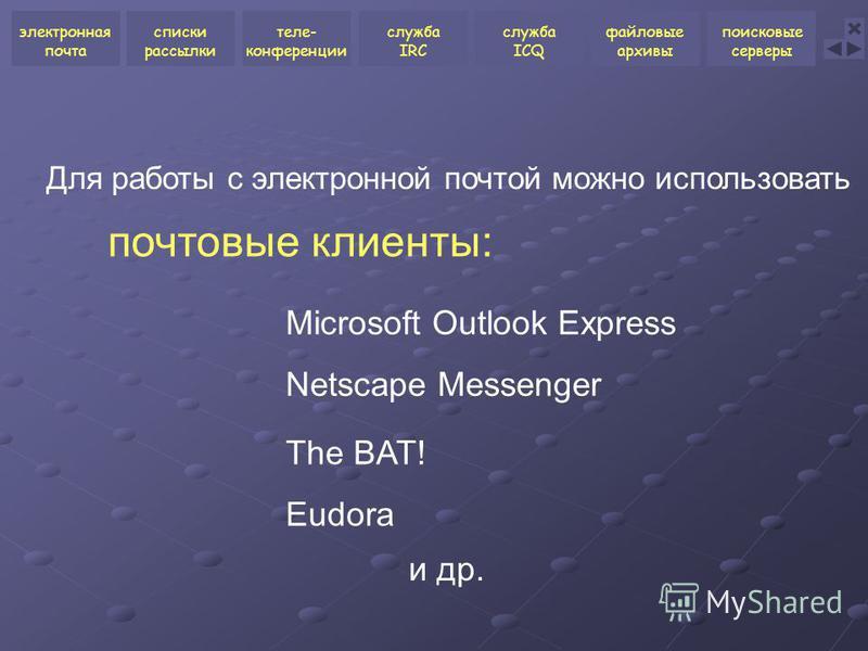 почтовые клиенты: Для работы с электронной почтой можно использовать Netscape Messenger The BAT! Microsoft Outlook Express Eudora и др. электронная почта списки рассылки теле- конференции служба ICQ файловые архивы поисковые серверы служба IRC