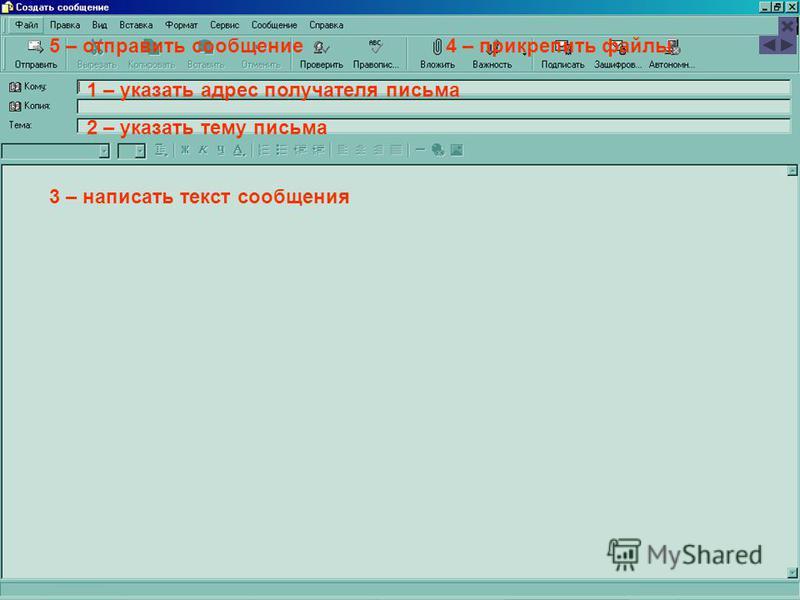 1 – указать адрес получателя письма 2 – указать тему письма 3 – написать текст сообщения 4 – прикрепить файлы 5 – отправить сообщение