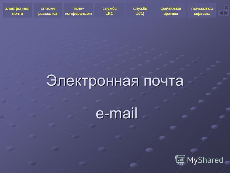 Электронная почта e-mail электронная почта списки рассылки теле- конференции служба ICQ файловые архивы поисковые серверы служба IRC