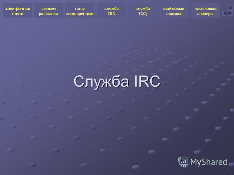 Служба IRC электронная почта списки рассылки теле- конференции служба ICQ файловые архивы поисковые серверы служба IRC