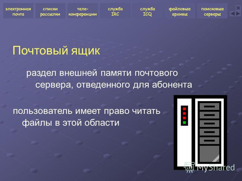Почтовый ящик раздел внешней памяти почтового сервера, отведенного для абонента пользователь имеет право читать файлы в этой области электронная почта списки рассылки теле- конференции служба ICQ файловые архивы поисковые серверы служба IRC