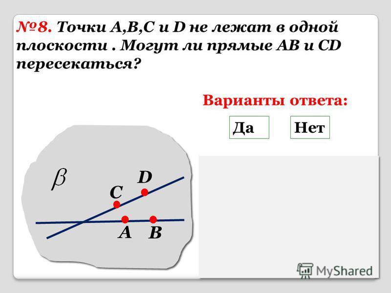 8. Точки A,B,C и D не лежат в одной плоскости. Могут ли прямые AB и CD пересекаться? A B C D Варианты ответа: Да Нет Помощь Если прямые пересекаются, То через них можно провести провести плоскость, что противоречит условию.