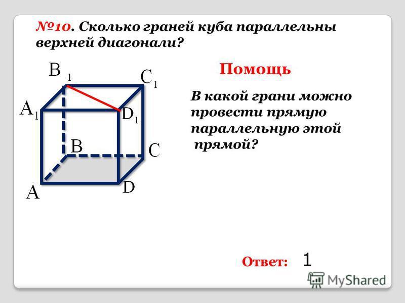 10. Сколько граней куба параллельны верхней диагонали? Помощь В какой грани можно провести прямую параллельную этой прямой? Ответ: 1
