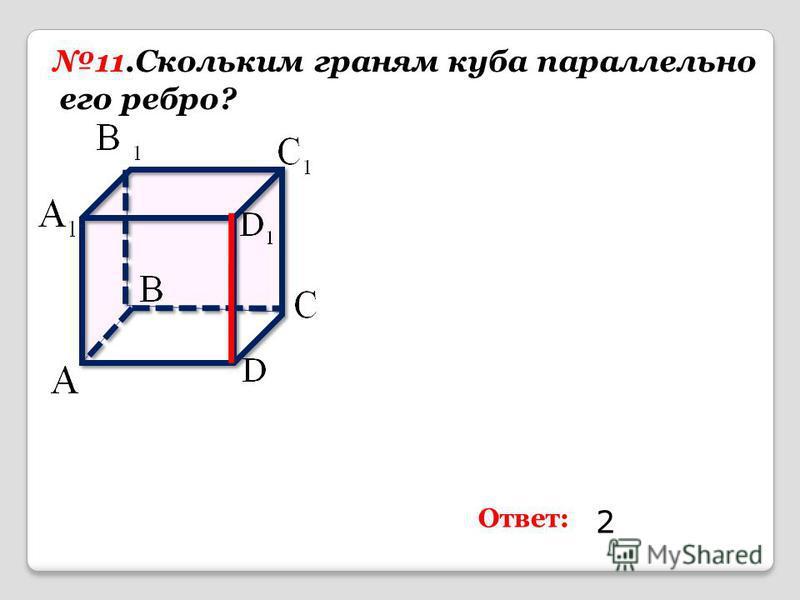 11. Скольким граням куба параллельно его ребро? Ответ: 2