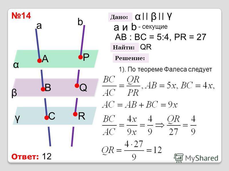 14 α β γ a b A B CR Q P Дано: αβ γ a b и - секущие AB : BC = 5:4, PR = 27 Найти: QR Решение: 1). По теореме Фалеса следует Ответ: 12