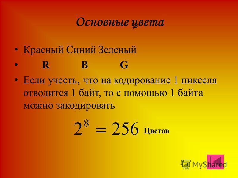 Основные цвета Красный Синий Зеленый R B G Если учесть, что на кодирование 1 пикселя отводится 1 байт, то с помощью 1 байта можно закодировать Цветов