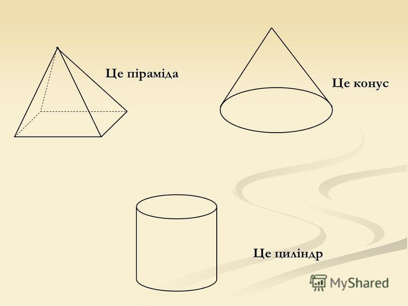 Це конус Це циліндр Це піраміда