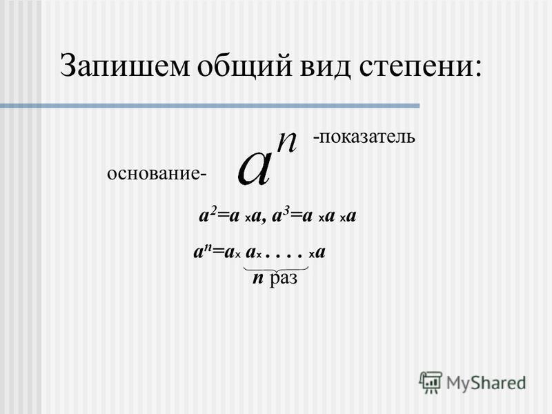 Запишем общий вид степени: -показатель основание- а 2 =а х а, а 3 =а х а х а а п =а Х а х.... х а п раз