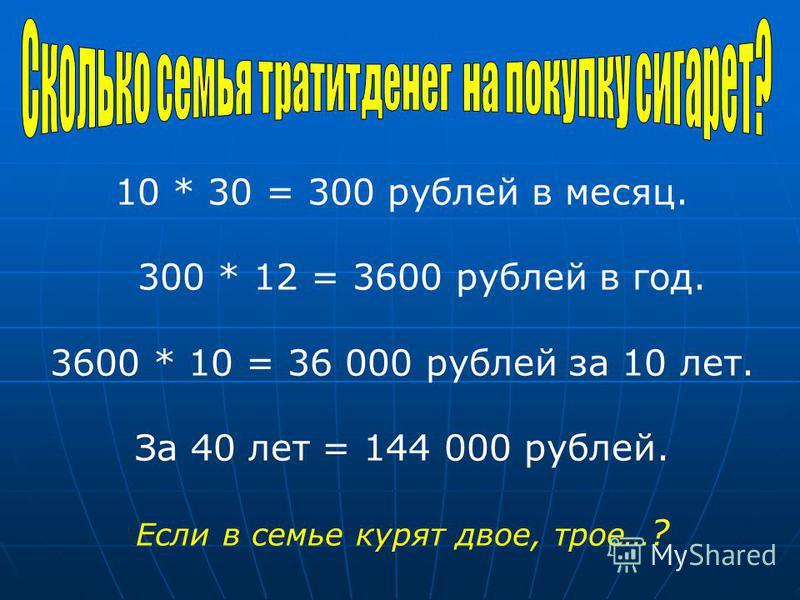 10 * 30 = 300 рублей в месяц. 300 * 12 = 3600 рублей в год. 3600 * 10 = 36 000 рублей за 10 лет. За 40 лет = 144 000 рублей. Если в семье курят двое, трое… ?