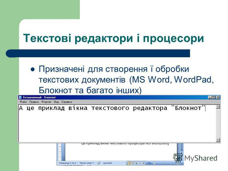 Текстові редактори і процесори Призначені для створення ї обробки текстових документів (MS Word, WordPad, Блокнот та багато інших)