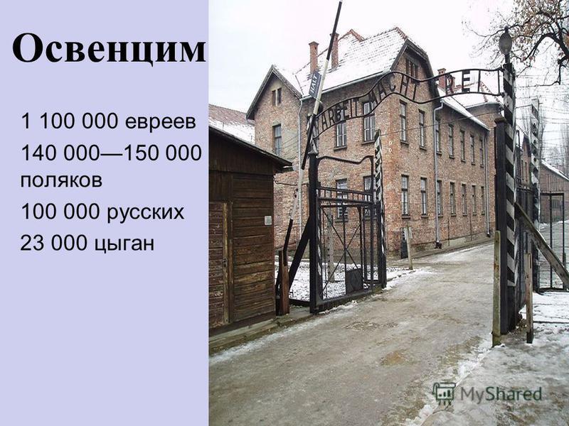Освенцим 1 100 000 евреев 140 000150 000 поляков 100 000 русских 23 000 цыган